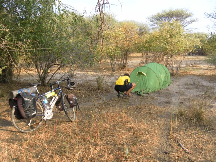 Setting up camp in the bush