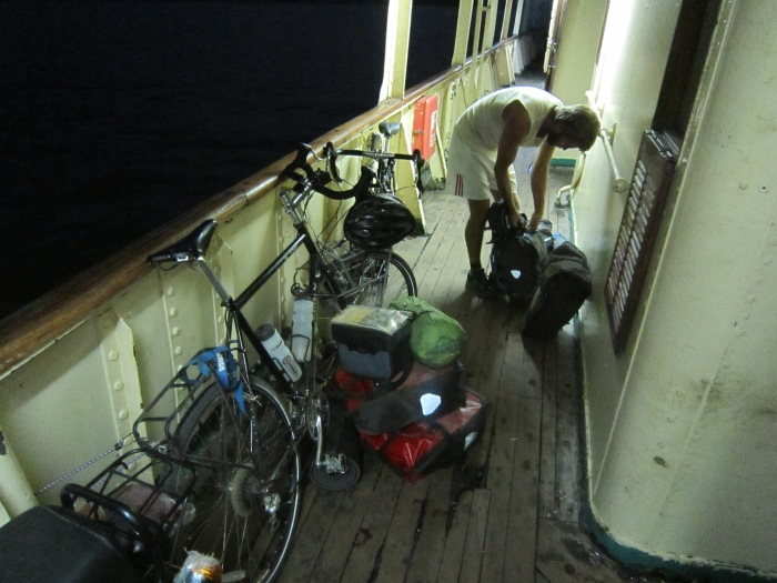 Securing our bikes on MS Victoria